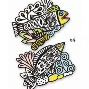 coloriage velours jolis poissons