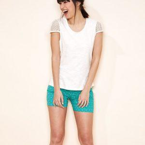 T-shirt coton bio flammé Jolena Blanc