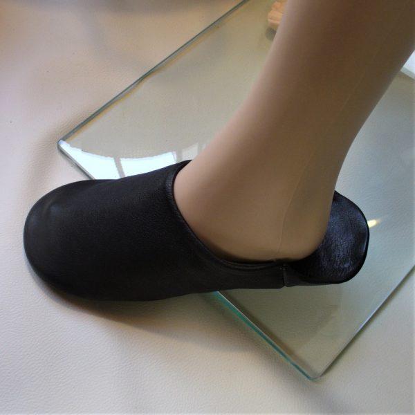 Babouches cuir noires